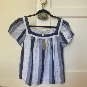 NWT J.Crew Point Sur Chambray Striped Cotton Top
